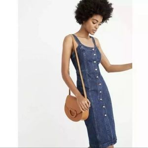 Madewell Denim Button Front Jean Jumper Midi Dress